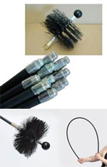 Chimney sweeping brush, rods, and stove flue brush
