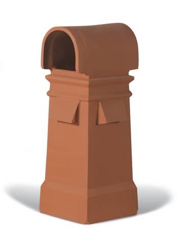 Hooded Square  chimney pot with pockets