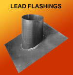 Lead roof flashings for flue pipe
