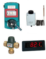 Mixer valves and flue thermostats for boiler stoves
