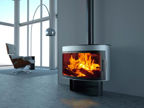 Wood Burning Stove In Kitchen Diner