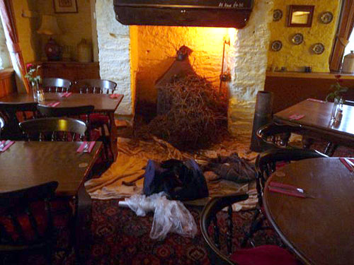 This pile of twigs came out of the chimney of the sportsmans arms pub near dartmouth in devon