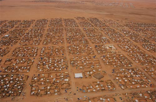 Camp in darfur for displaced people