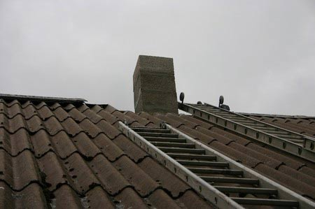 Scancore single block pumice chimney through the roof