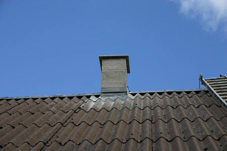Scancore single block pumice chimney water sealed with roof