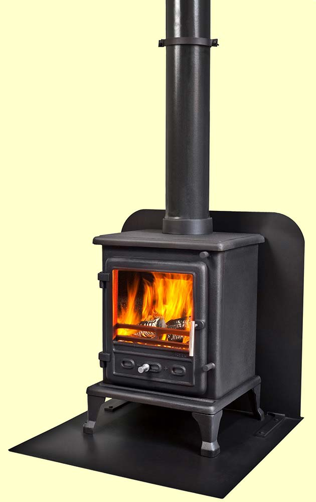 A Standard Camping Hearth with stove in a tent