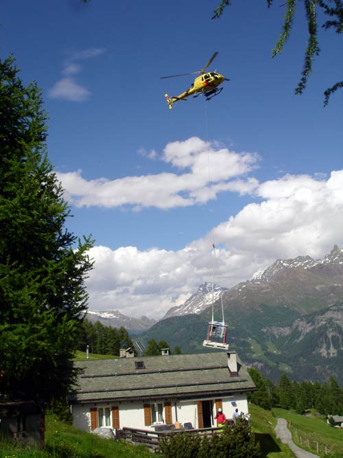 Stove delivery by helicopter